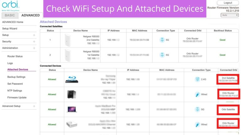 Check Orbi WiFi Setup And Attached Devices